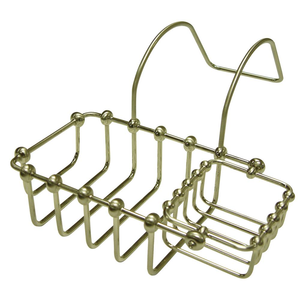 Swivel Soap and Sponge Claw Foot Bathtub Caddy in Satin Nickel