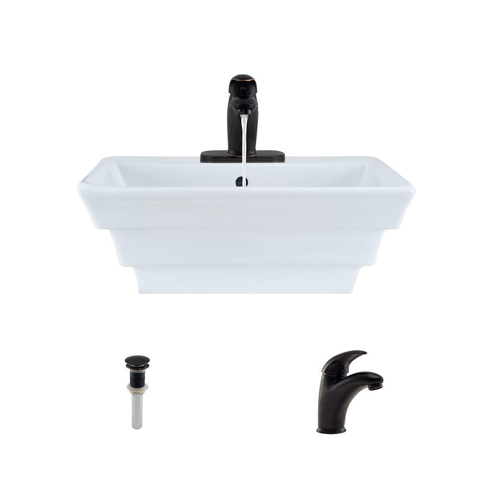 Porcelain Vessel Sink in White with 722 Faucet and Pop-Up Drain