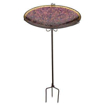 Mosaic Birdbath/Feeder Stake - Purple Tiles