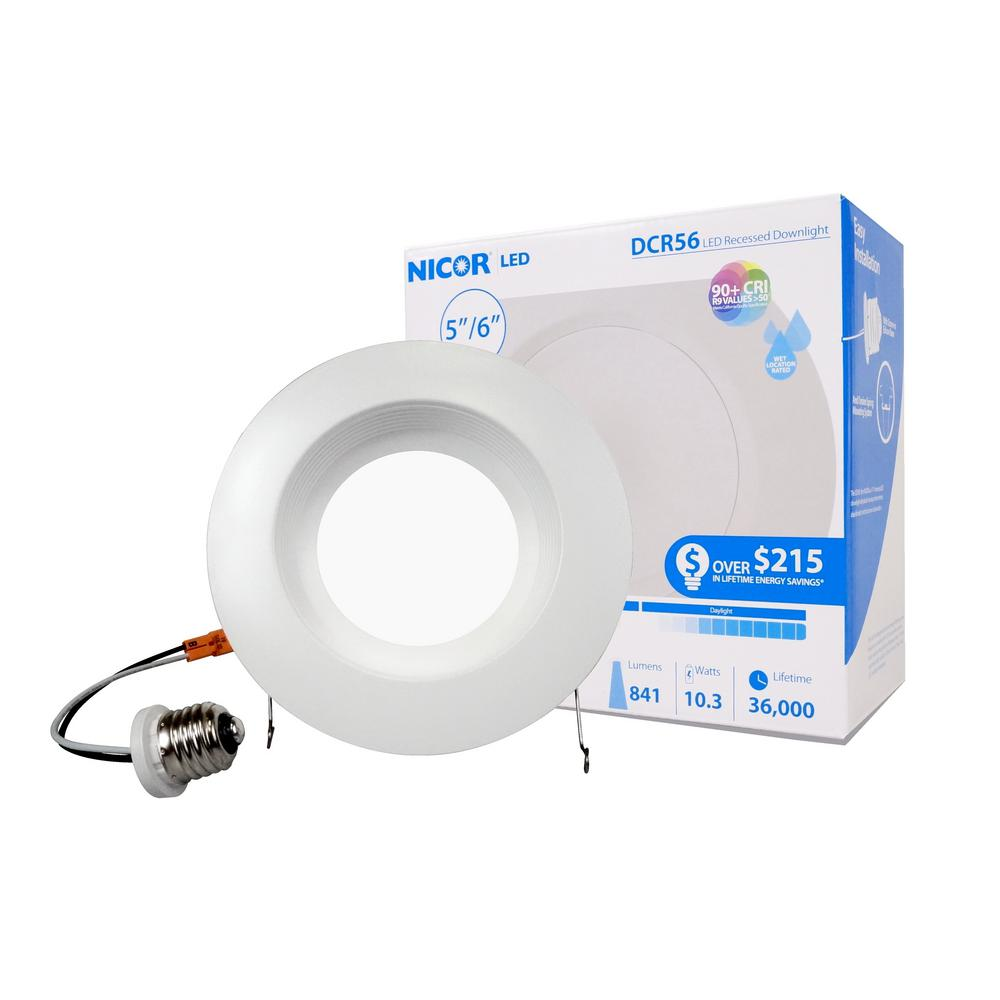 5 in. and 6 in. Downlight White Baffle 800-Lumen Integrated LED