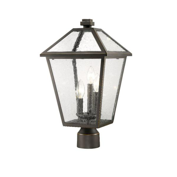 3-Light Rubbed Bronze Outdoor Post Mount Fixture with Seedy Glass Shade