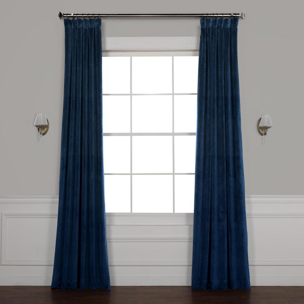 Eternal Blue Heritage Plush Velvet Curtain - 50 in. W x 84 in. L