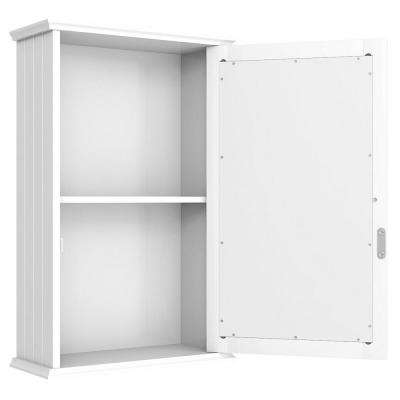 5.85 in. W Surface Wall Mount Bathroom Wall Cabinet with Single Mirror Door in White