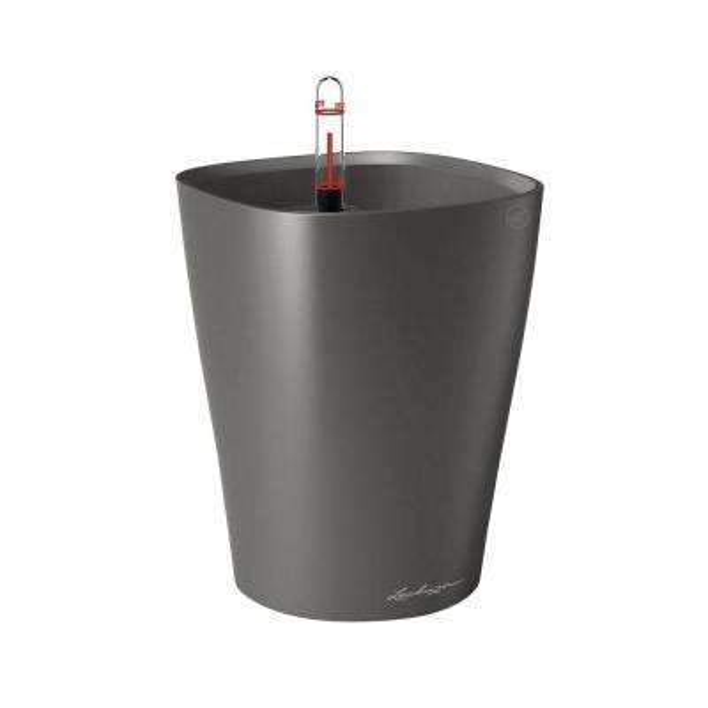 Deltini Premium 6 in. Square Charcoal Metallic Table Top Self Watering Plastic Planter