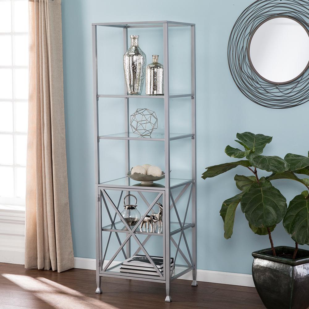 Kallon Silver Tall X-Frame Bookcase/Etagere