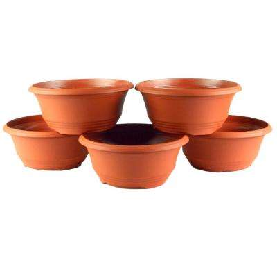 10 in. Terra Cotta Plastic Bowl Planter (5-Pack)