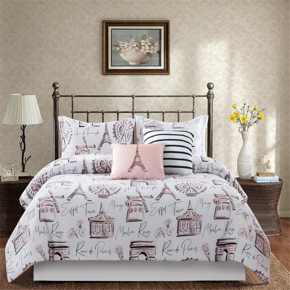 Paris Bedding Comforter Set Microfiber Full Size 5 Piece Shams Bed in Bag