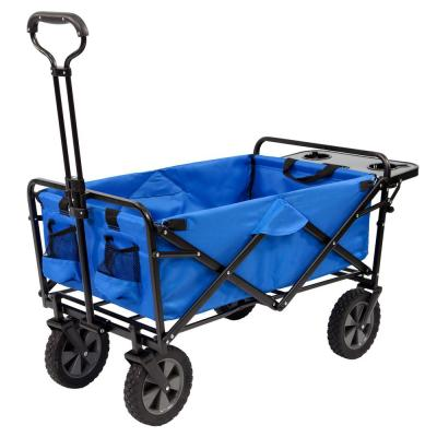 Collapsible Folding Outdoor Garden Utility Wagon Cart with Table, Blue