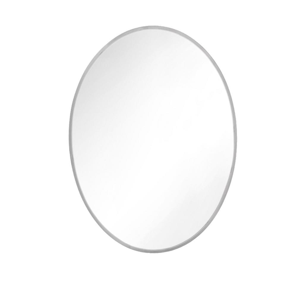 Kit 36 in. x 24 in. Satin Nickel Transitional Oval Mirror