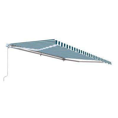 16 ft. Motorized Retractable Awning (120 in. Projection) in Blue and White