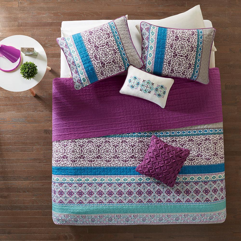Intelligent Design Adley 4-Piece Purple Twin Coverlet Set