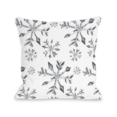 Silver Snowflake Silver Graphic Polyester 16 in. x 16 in. Throw Pillow