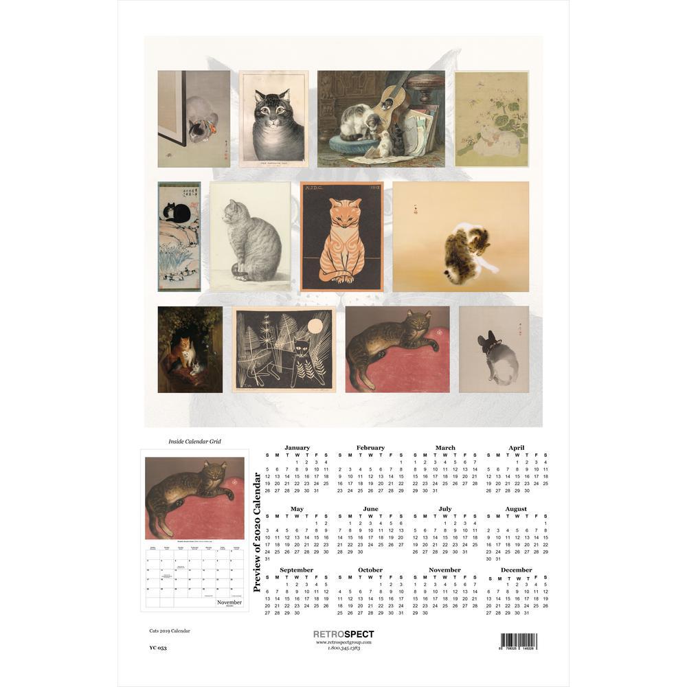 19 in. x 12.5 in. The Art of Cats Calendar - 2019 Calendar