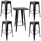 Loft Style Bar Set with Black Metal Table Top and Dark Elm Wood Top Stools (5-Piece)