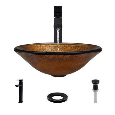 Glass Vessel Sink in Orange Gold Foil with R9-7003 Faucet and Pop-Up Drain in Antique Bronze