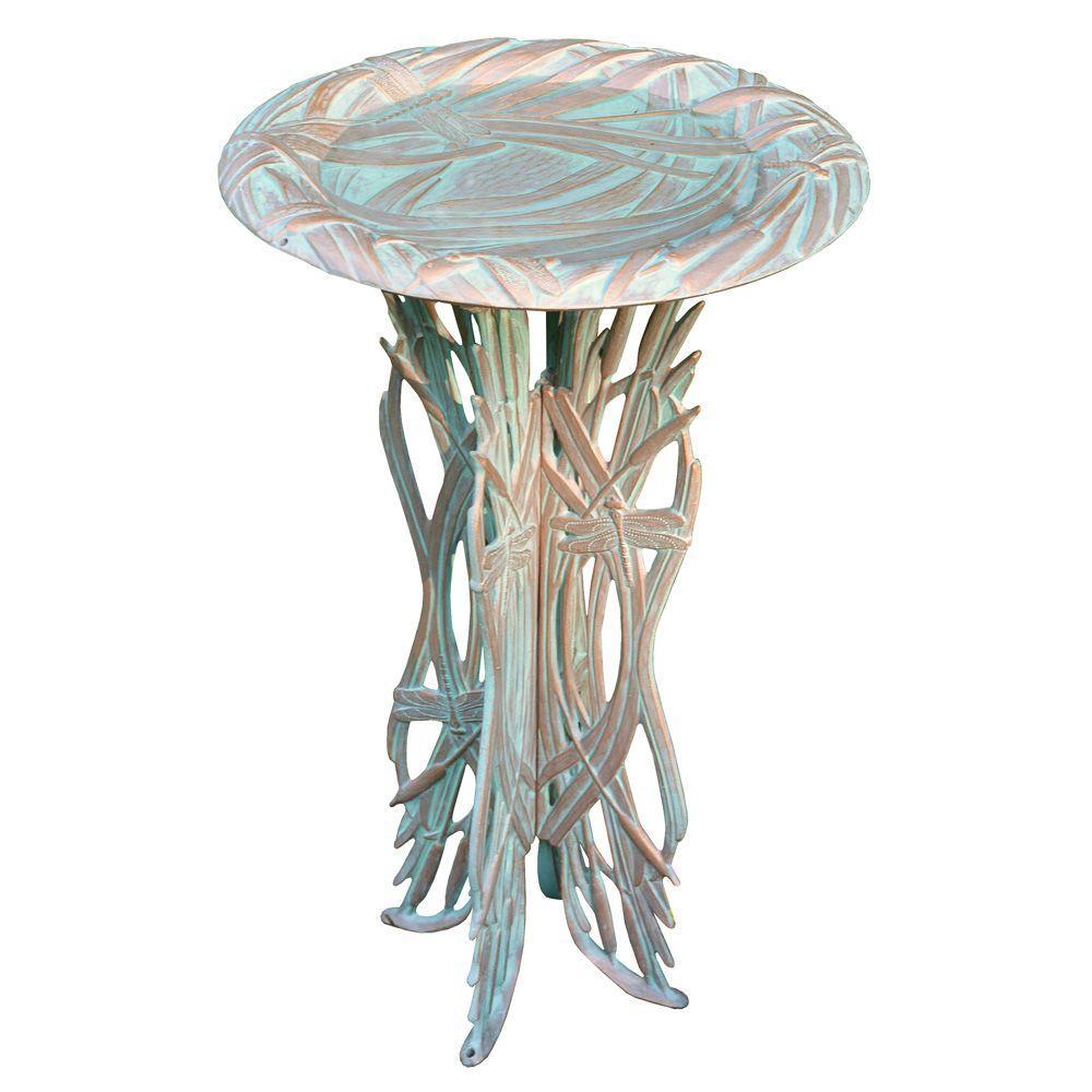 Whitehall Products Dragonfly Copper Verdi Birdbath/Pedestal by Whitehall Products