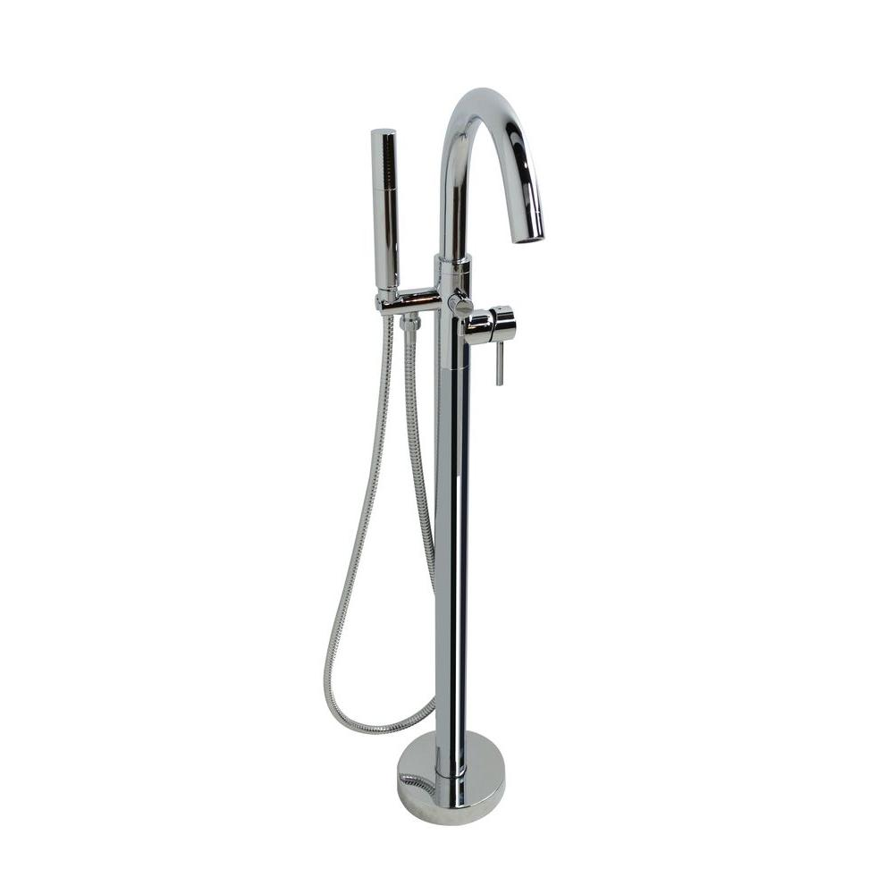 Universal Tubs Clarity Series 2-Handle Freestanding Claw Foot Tub Faucet with Handshower in Polished Chrome