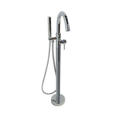 Clarity Series 2-Handle Freestanding Claw Foot Tub Faucet with Handshower in Polished Chrome