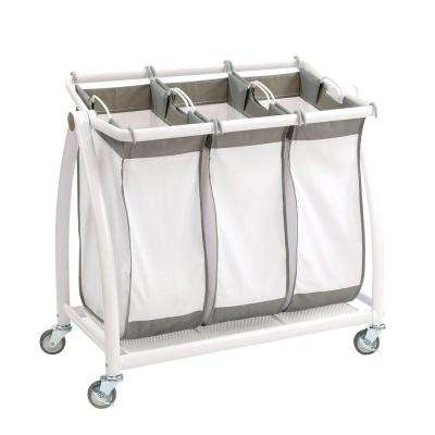 Premium 3 Bag Heavy Duty Tilt Laundry Hamper Sorter Cart