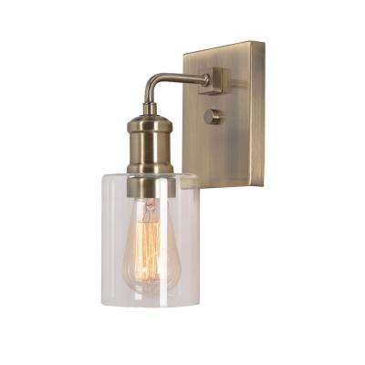 Renda 4.5 in. 1-Light Antique Brass Sconce with Glass Shade