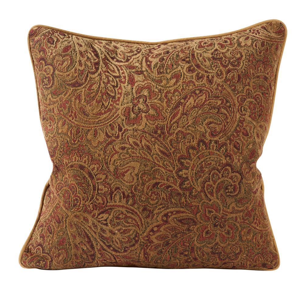 Vesper Lane Warm Red Paisley Designer Throw Pillow