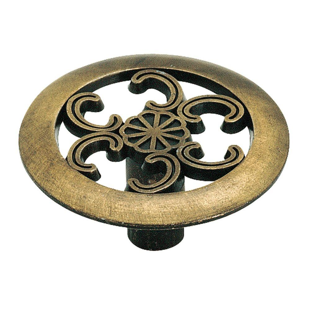 1-1-/2 in. Antique Brass Cabinet Knob