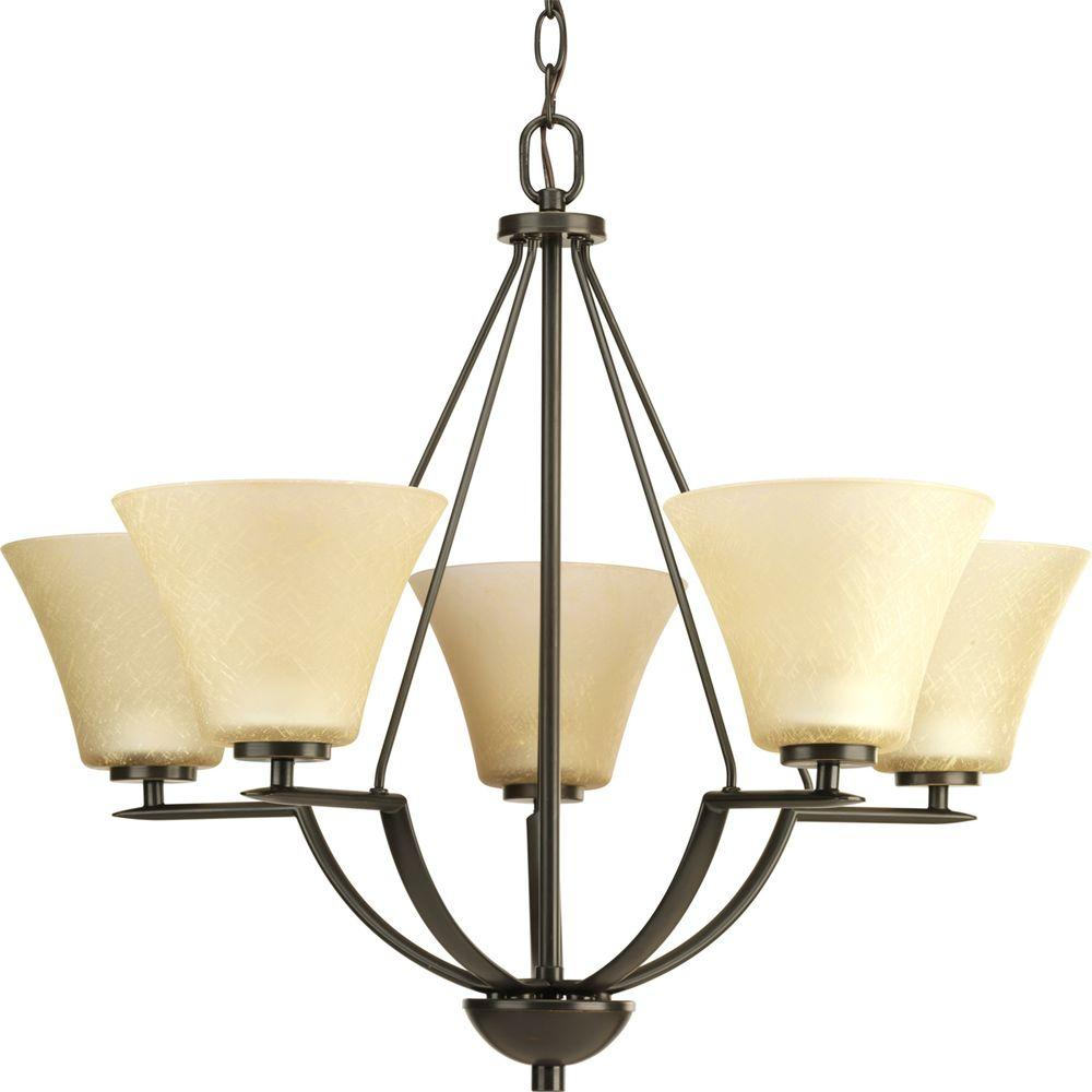 Progress Lighting Bravo Collection 5 Light Antique Bronze Chandelier With Shade Umber Linen Glass P4623 20 The Home Depot