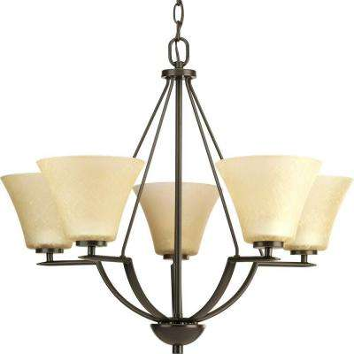 Bravo Collection 5-Light Antique Bronze Chandelier with Umber Linen Glass Shade
