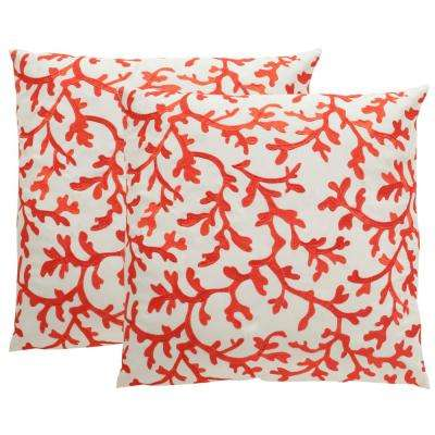 Coral All Over Soleil Square Outdoor Throw Pillow (Pack of 2)