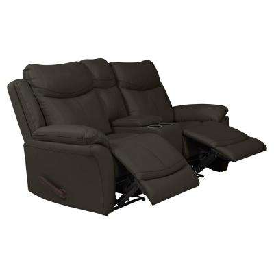 Espresso Brown Tuff Stuff Fabric 2-Seat Wall Hugger Recliner Loveseat with Power Storage Console