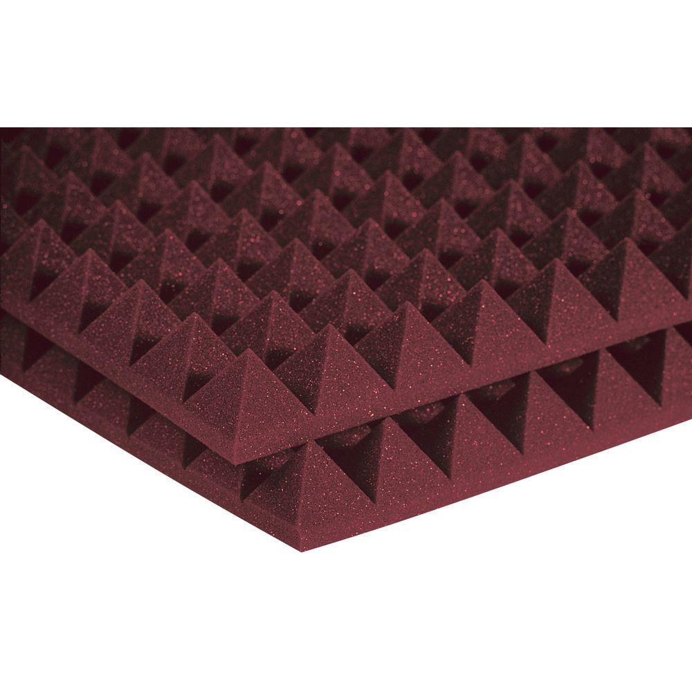 Auralex 2 ft. W x 2 ft. L x 2 in. H Studio Foam Pyramid Panels - Burgundy (Half-Pack: 12 Panels per Box)