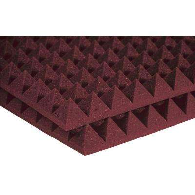 Auralex Studiofoam Pyramid Panels - 2 ft. W x 2 ft. L x 2 in. H - Burgundy (Half-Pack: 12 Panels per Box)
