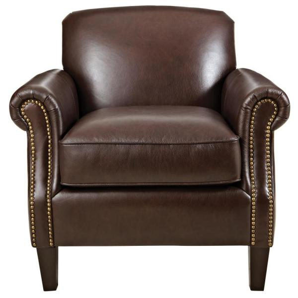 Home Decorators Collection Thomas Chocolate Leather Club Chair 9948600120