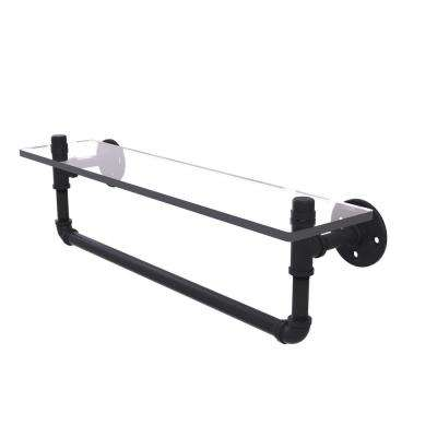 Pipeline Collection 22 in. Glass Shelf with Towel Bar in Matte Black