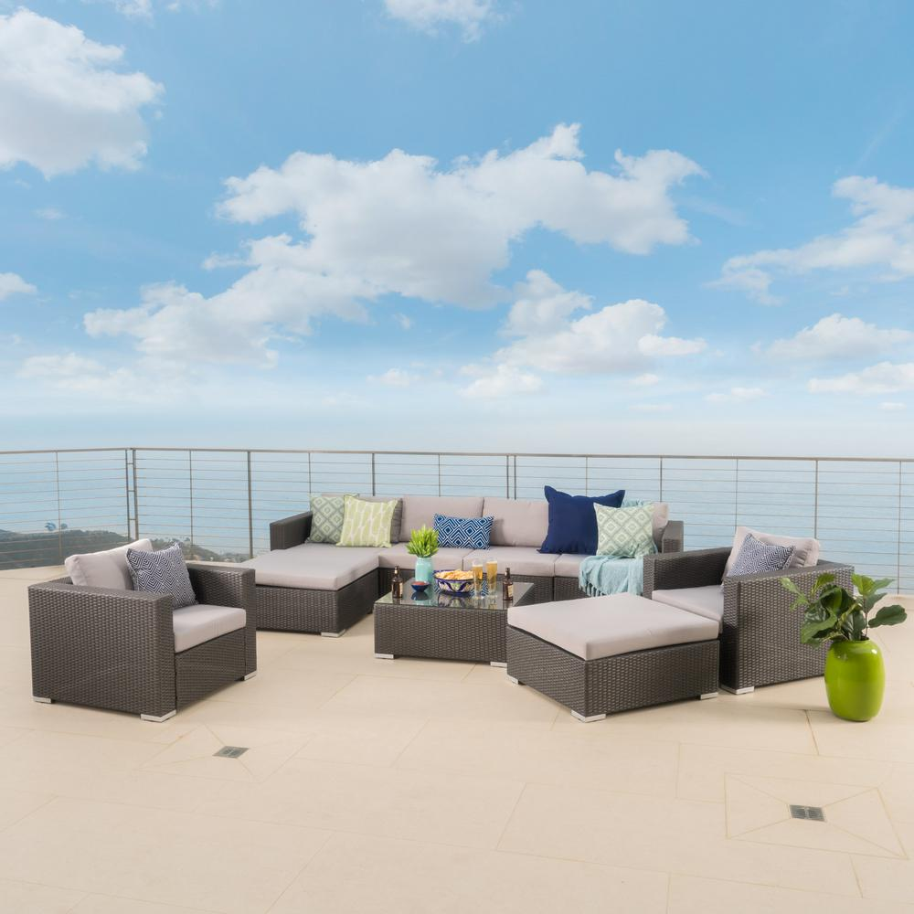 Santa Rosa Grey 9-Piece Wicker Outdoor Sectional Set with Silver Cushions