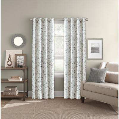"Room Darkening Imprint Leaf Neutral Grommet Curtain Panel 52"" W x 84"" L"