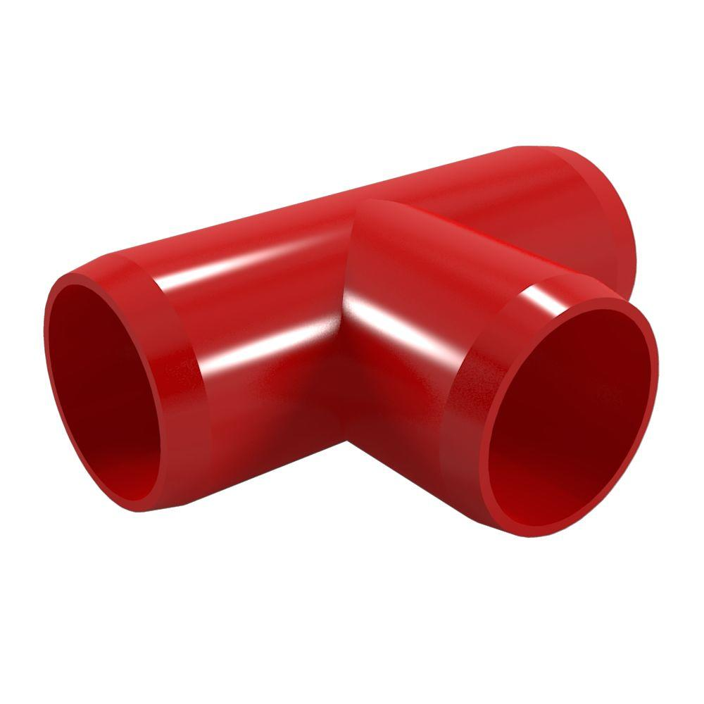 1 in. Furniture Grade PVC Tee in Red (4-Pack)