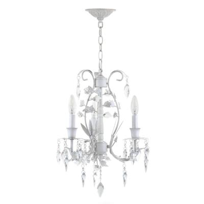 Jasper 3-Light White Crystal Candle-Style Chandelier