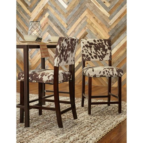 Linon Home Decor Corey 24 in. Udder Madness Cushioned Bar Stool