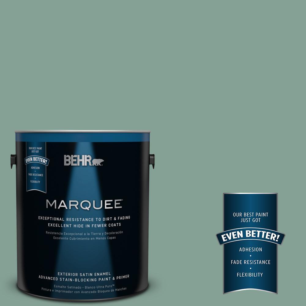 BEHR MARQUEE 1-gal. #S420-4 Australian Jade Satin Enamel Exterior Paint