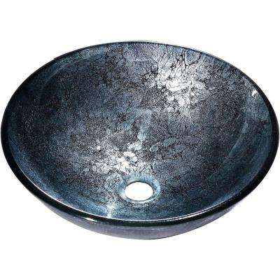 Zermatt Vessel Sink in Blue and Silver