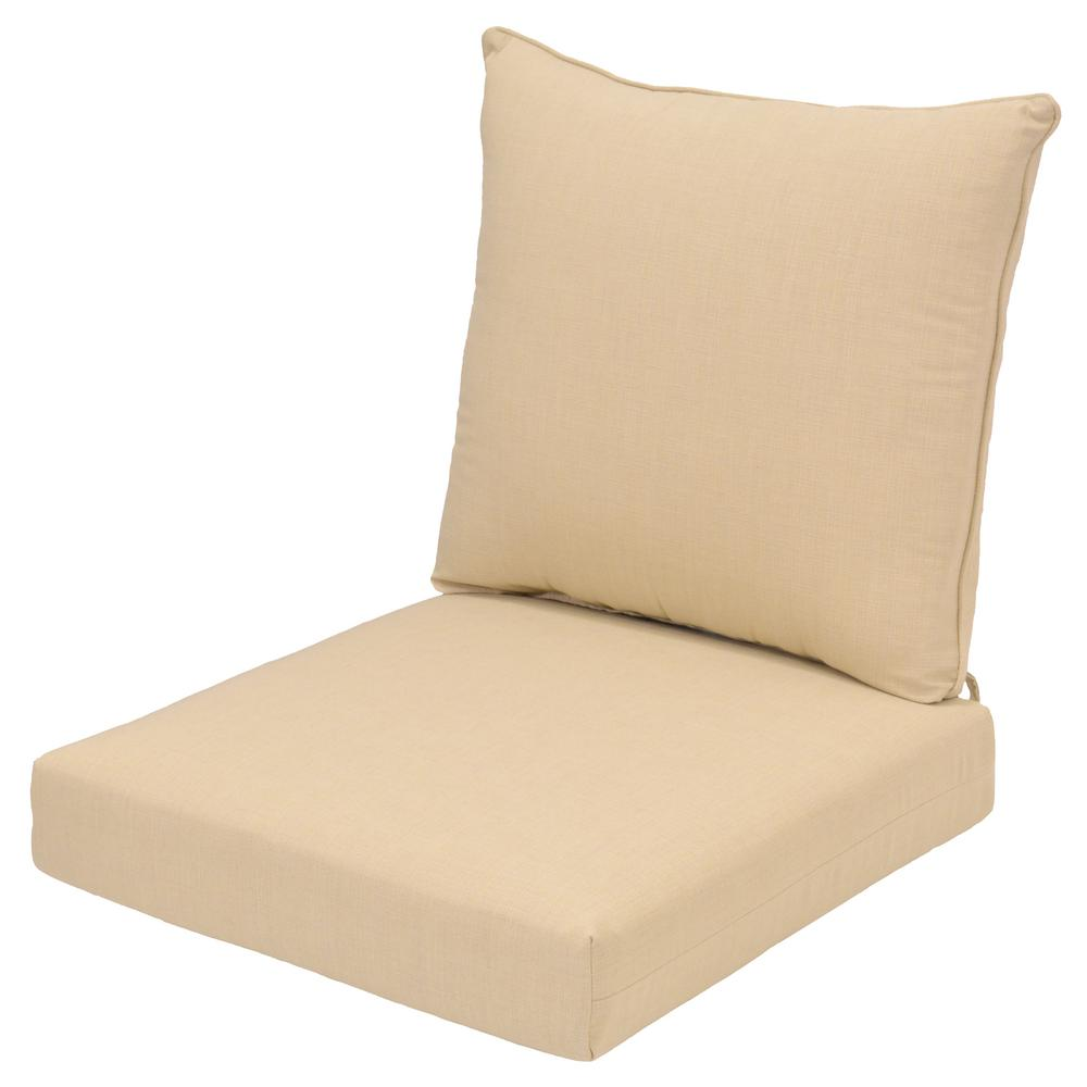 CushionGuard Oatmeal 2-Piece Deep Seating Outdoor Lounge Chair Cushion