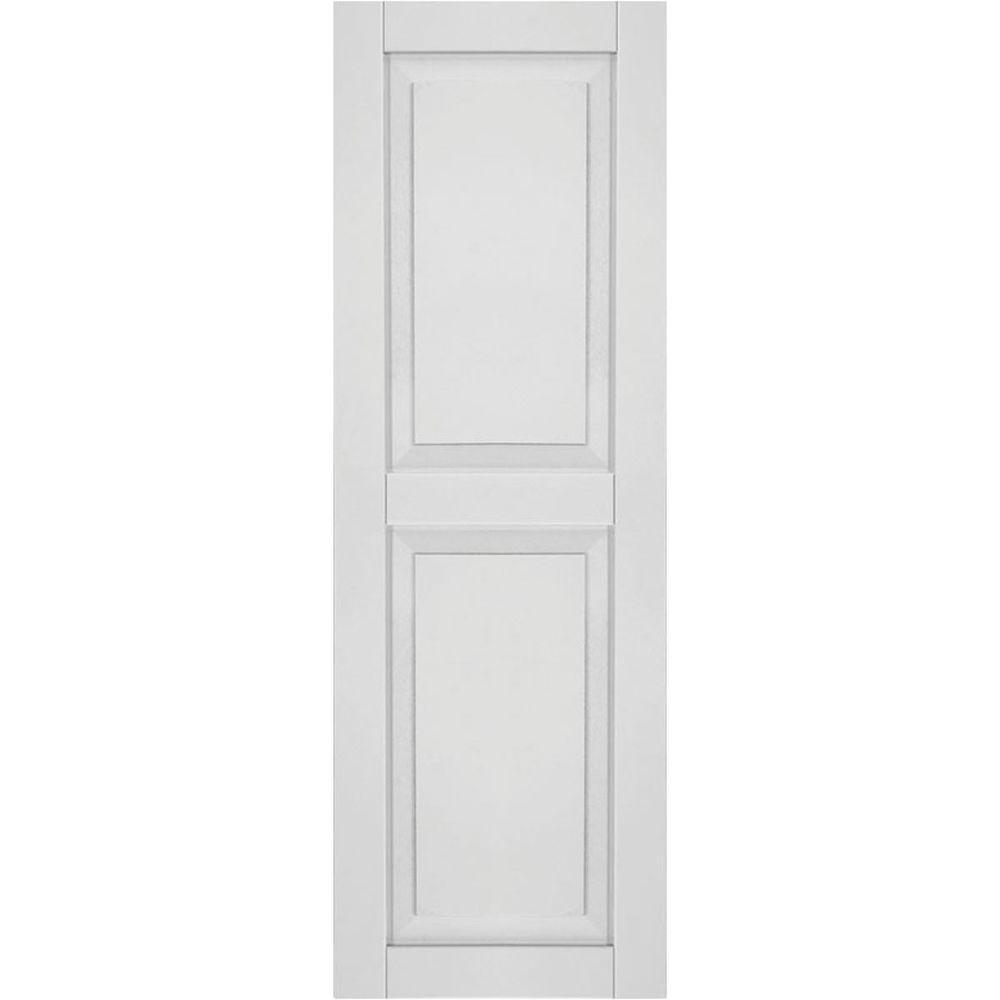 Ekena Millwork 15 in. x 55 in. Exterior Composite Wood Raised Panel Shutters Pair Primed