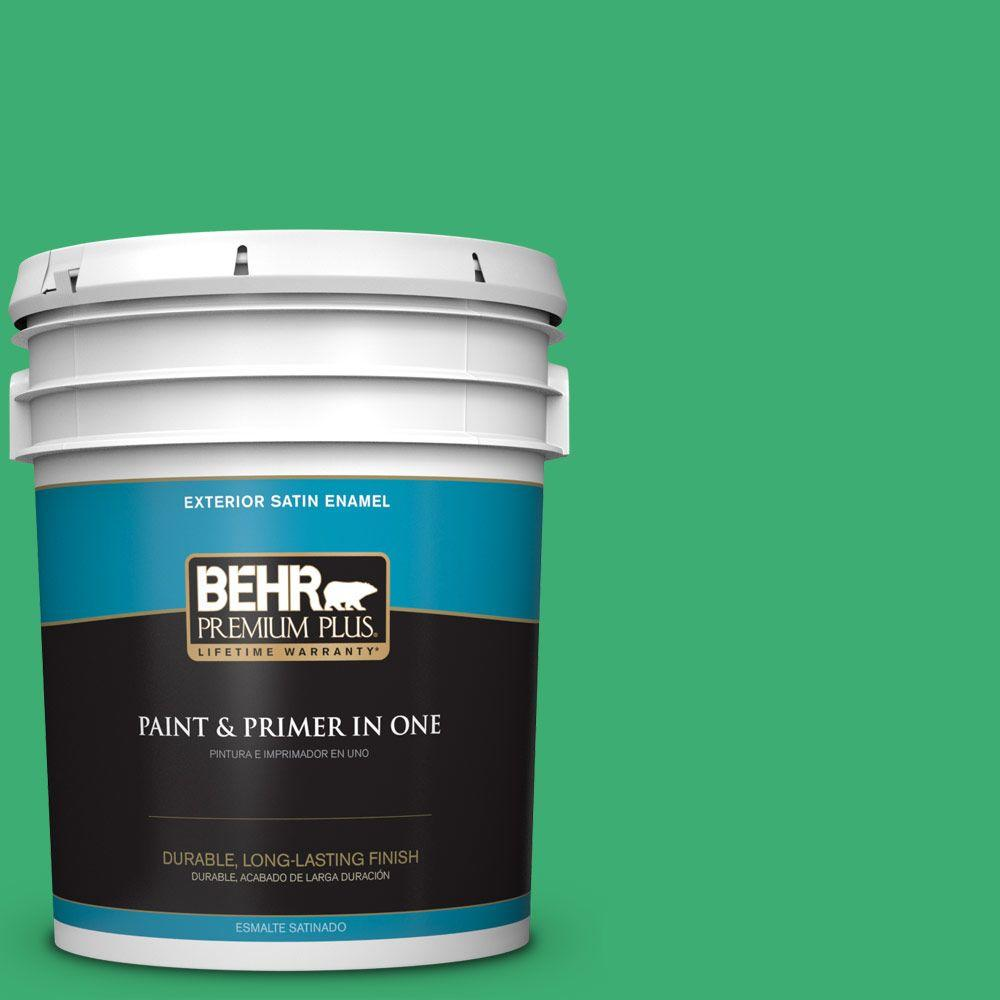 5-gal. #460B-5 Fresh Greens Satin Enamel Exterior Paint