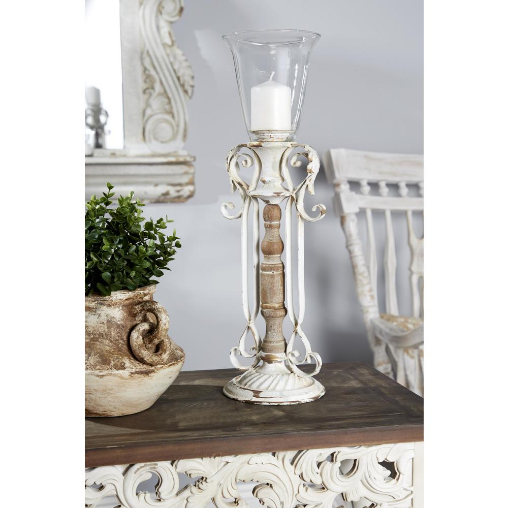 Distressed White Wood, Metal and Glass Candle Holder