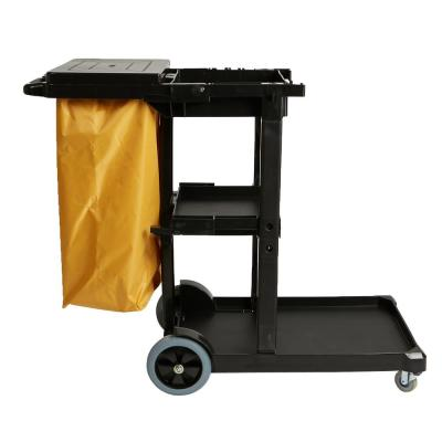 Black Plastic Commercial Cleaning or Janitor Cart with Yellow Vinyl Bag