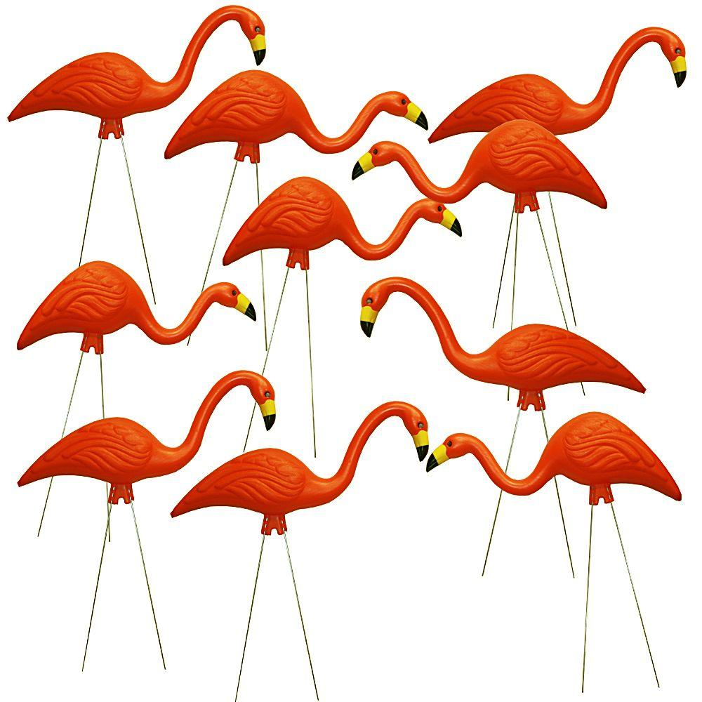 TEAMingos 26 in. Orange Flamingo (10-Pack)