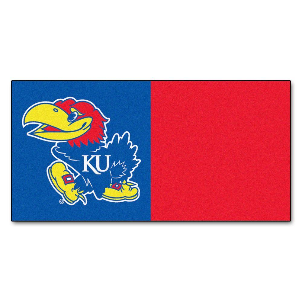 FANMATS NCAA - University of Kansas Blue and Red Nylon 18 in. x 18 in. Carpet Tile (20 Tiles/Case)