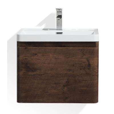 Happy 24 in. W Bath Vanity in Rosewood with Reinforced Acrylic Vanity Top in White with White Basin