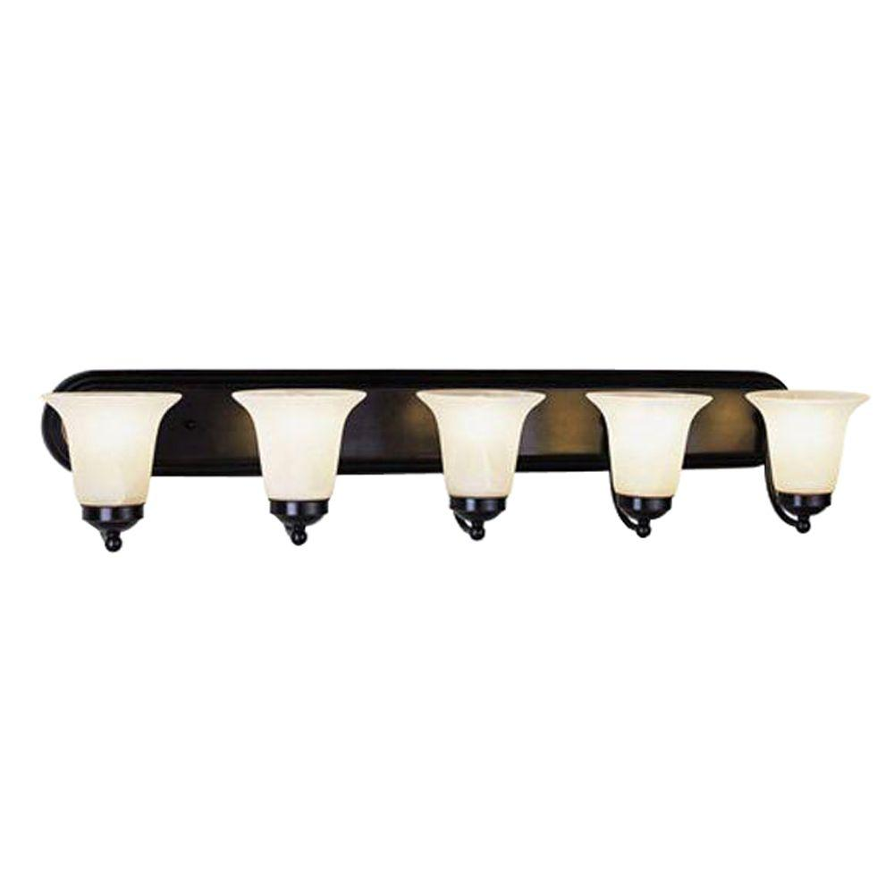 Bel Air Lighting Cabernet Collection 5-Light Polished Chrome Bath Bar Light with White Marbleized Shade